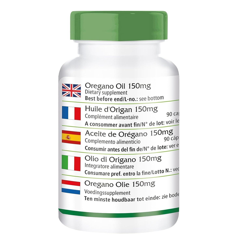 Orégano 150 mg de aceite - GRANEL durante 3 meses - Origanum vulgare extracto - 90 Softgels - concentrado 10 veces: Amazon.es: Salud y cuidado personal