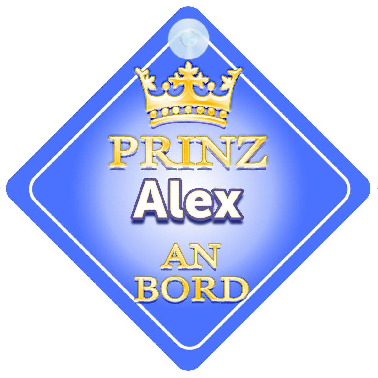 Baby on Board Autoschild /… Kind Geschenk Prinz Alex An Bord mit Krone Personalisierte Autokennzeichen Neues Baby Junge Pr/äsentieren