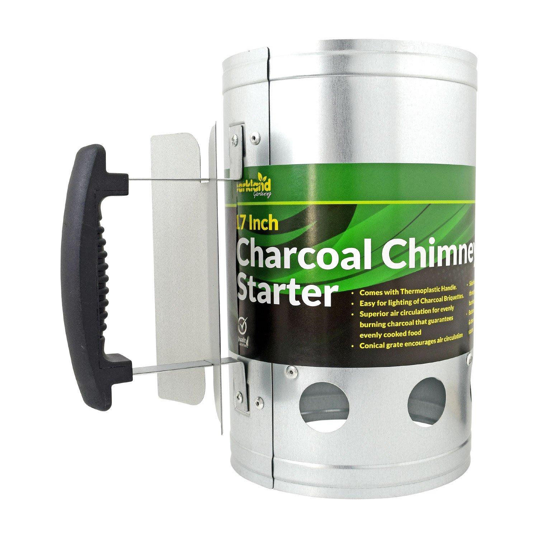 Kit de chimenea de carbón para barbacoas de Parkland, briquetas de carbón de encendido rápido, barbacoa de acero galvanizado con mango termoplástico de ...