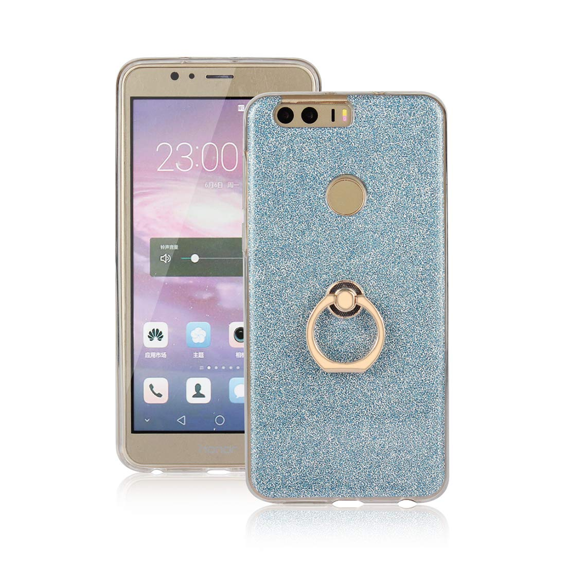 Cover Huawei Honor 8, Lyzwn Case Cover di Alta Qualità in Silicone TPU Bumpe Custodia con Glitter Bling Scintillante Brillantini per Donna per Ragazze e Lucida Custodia