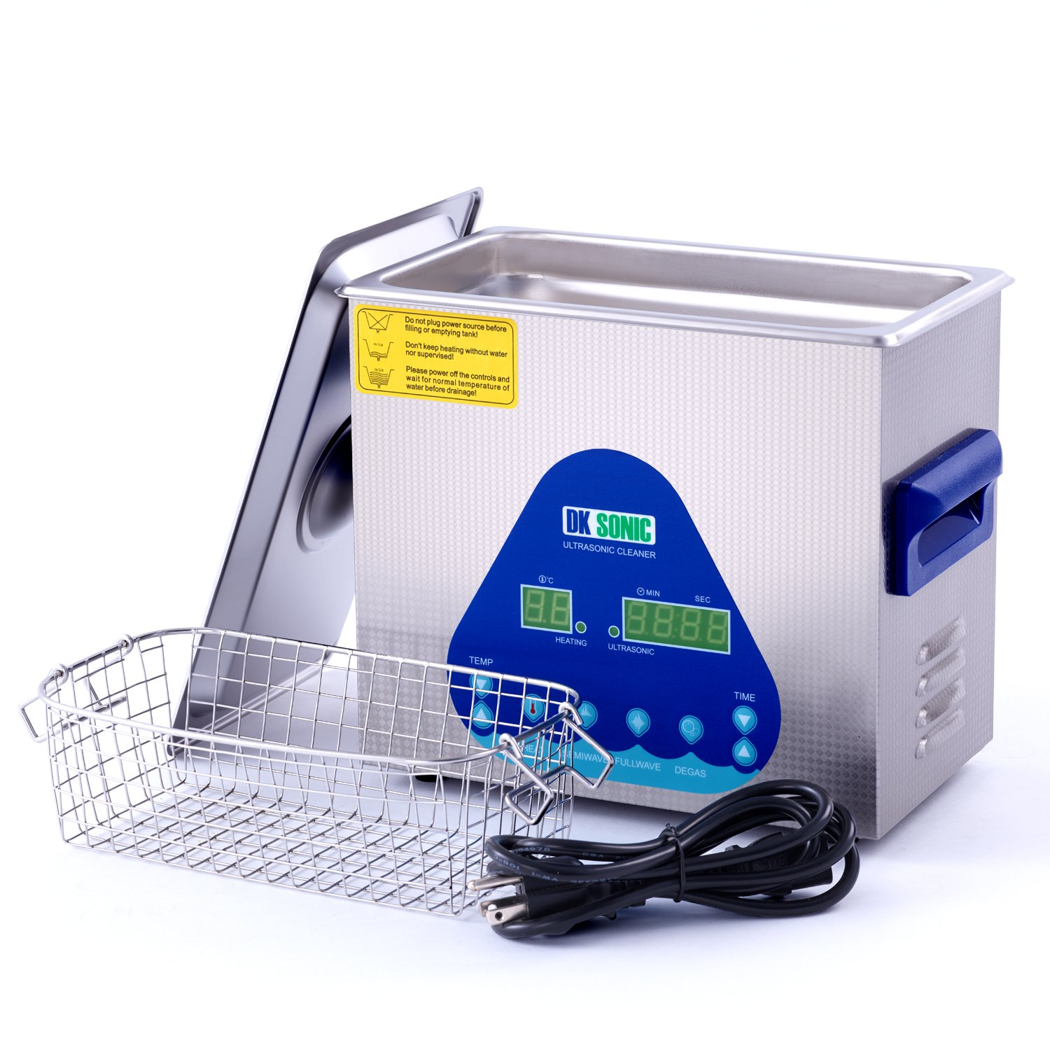 Digital Ultrasonic Gun Cleaner Heated - DK SONIC 3L 120W Ultrasonic Denture Cleaner with Heater Basket for Parts Jewelry Carburetor Eyeglass Ring Fuel Injector Dental Circuit Board Carb 28/40KHz