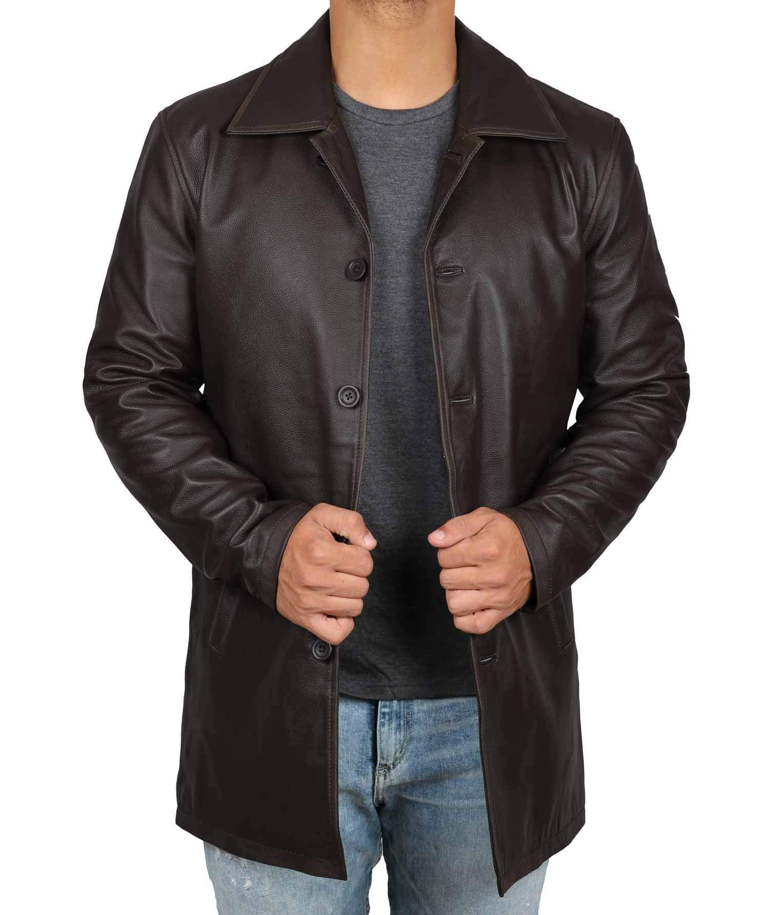 Decrum Distressed Brown Leather Jacket Mens - Lambskin Leather Jackets | [1500032] Super Rub, S by Decrum
