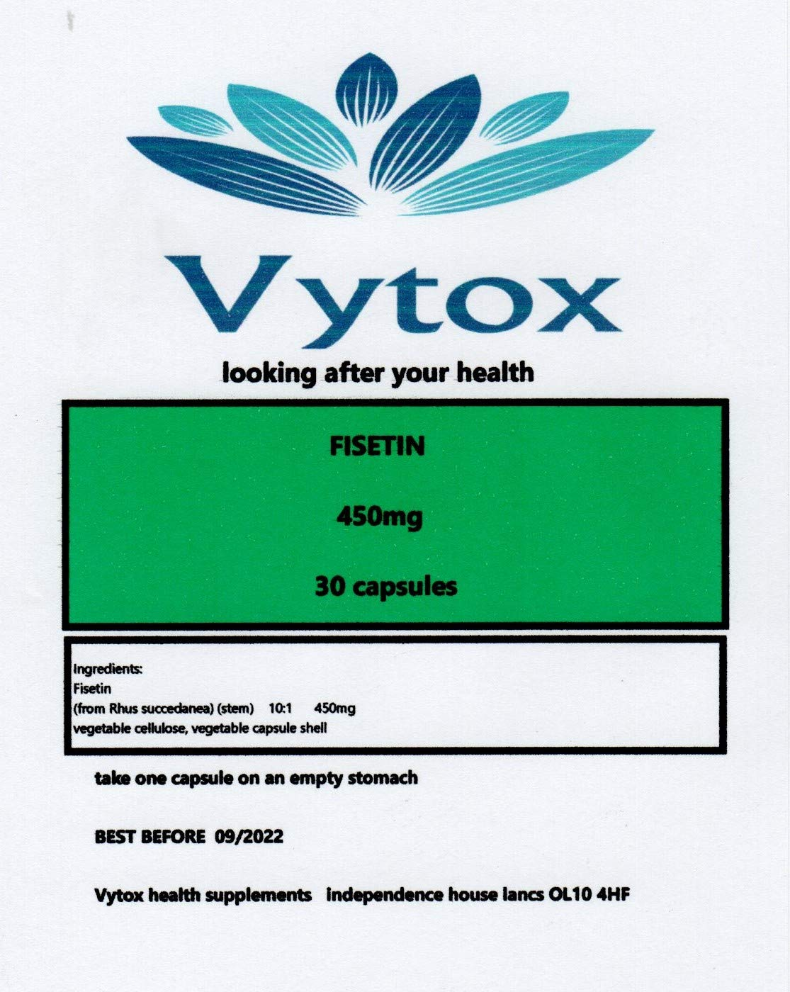 Fisetin (450mg) 30 Capsules, 1 Month Supply, by vytox, Vegetarian