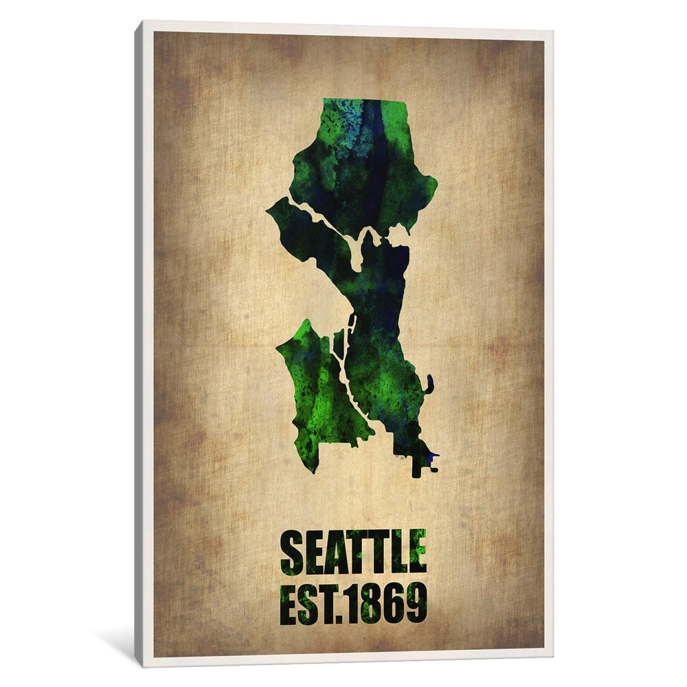 60 x 40//1.5 Deep iCanvasART 3 Piece Seattle Water Color Map Canvas Print by Naxart
