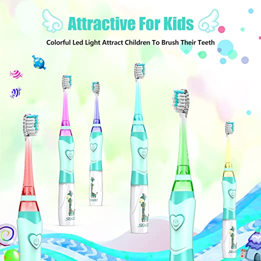 Kids Electric Toothbrush, Soft Battery Tooth Brush with Timer Powered by Sonic Technology for Children Boys...