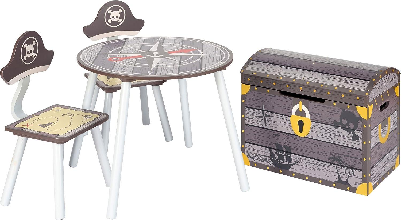 1x Truhenbank IB-Style Kindersitzgruppe Pirate 3 Kombinationen Spielzeugkiste Stuhl Truhenbank Tisch