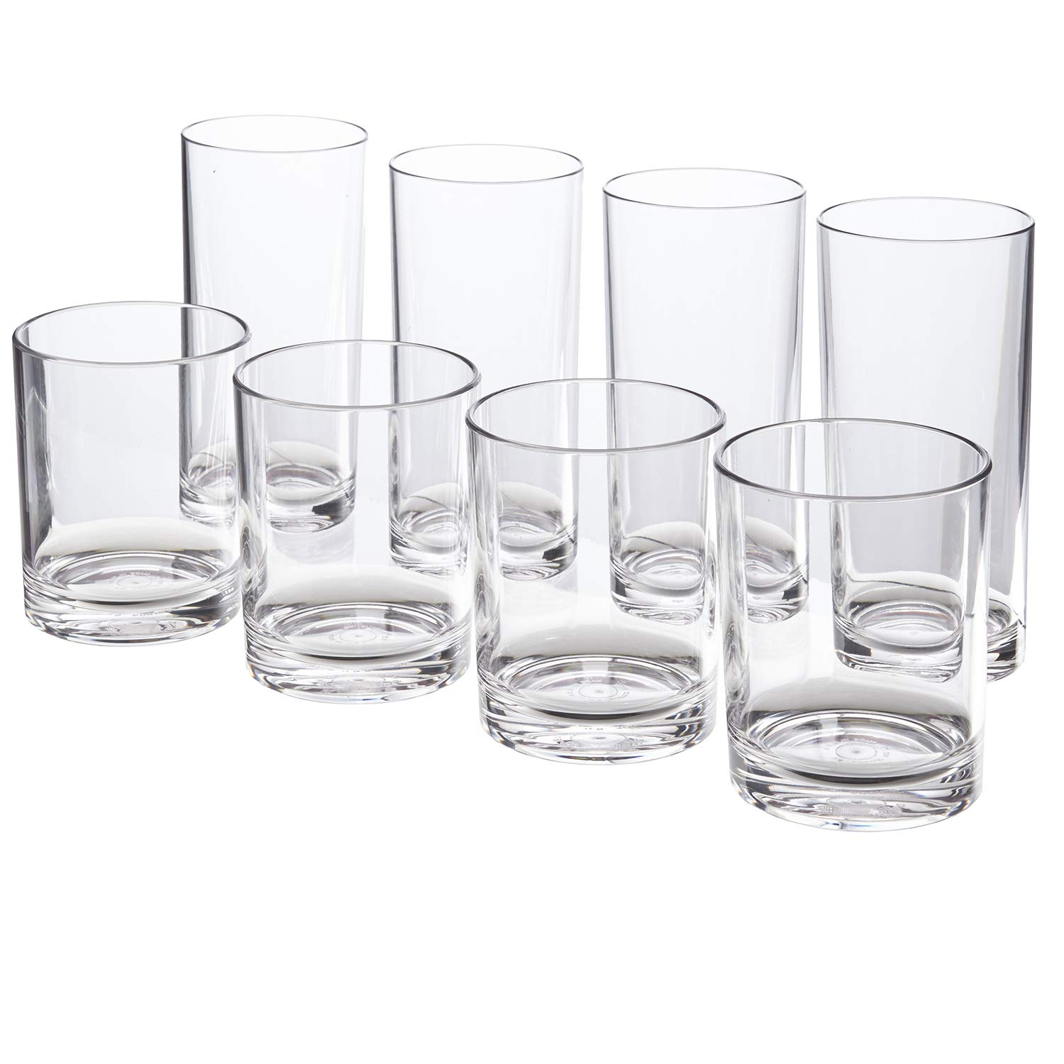 Classic 8-piece Premium Quality Plastic Tumblers   4 each: 12-ounce and 16-ounce Clear