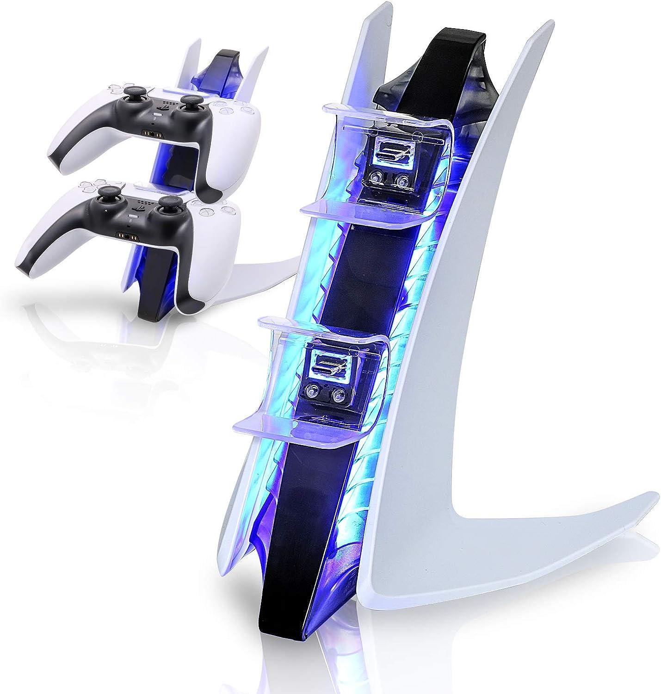 Cargador de controles Playstation 5 con luz LED