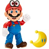 "Nintendo Super Mario Collectible Mario Wearing Cappy 4"" Poseable Articulated Action Figure with Yellow Power Moon Accessory, Perfect For Kids & Collectors Alike! for Ages 3+"