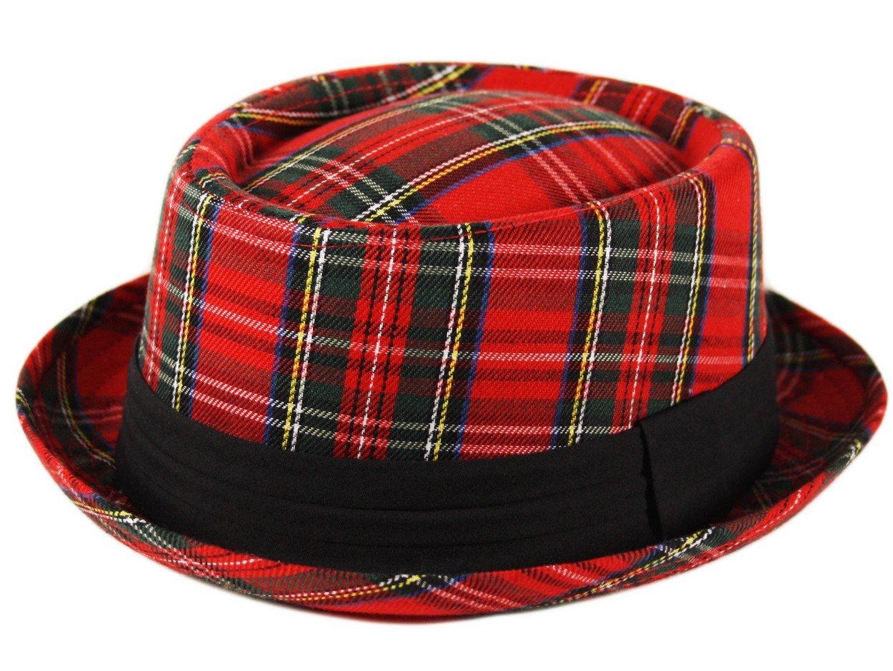 bdfbc856ee0 Adult Pork Pie Trilby Fedora Scottish Tartan Check Hat Band Unisex Breaking  Bad Heisenberg Style Red