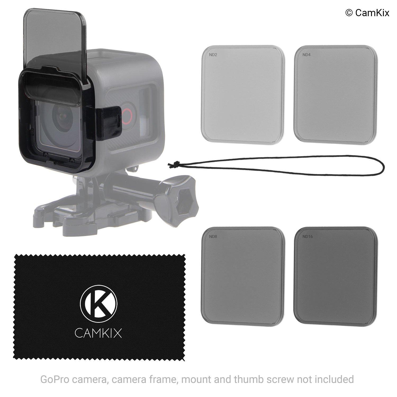 CamKix Paquete de filtros cinematográficos Compatible con GoPro HERO5 / HERO4 Session, Haga Click en el Marco, 4 filtros de Densidad Neutra ...
