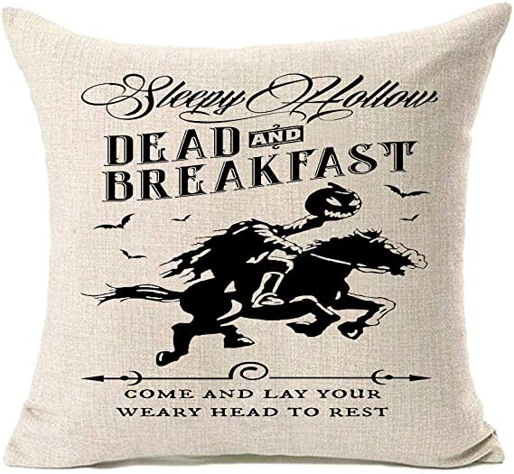 Mfgneh Dead And Breakfast Halloween Pillow Covers 18x18 Inch Set Of 4 Salem Broom Halloween Decorations Throw Pillow Covers With Witch Ghost Design Home Kitchen