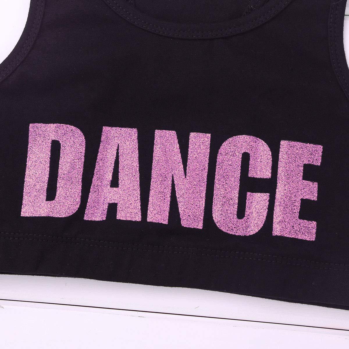 inlzdz Little Big Girls Glittery Dance Racerback Crop Top Sports Bras Gymnastics Ballet Athletic Tees Tank