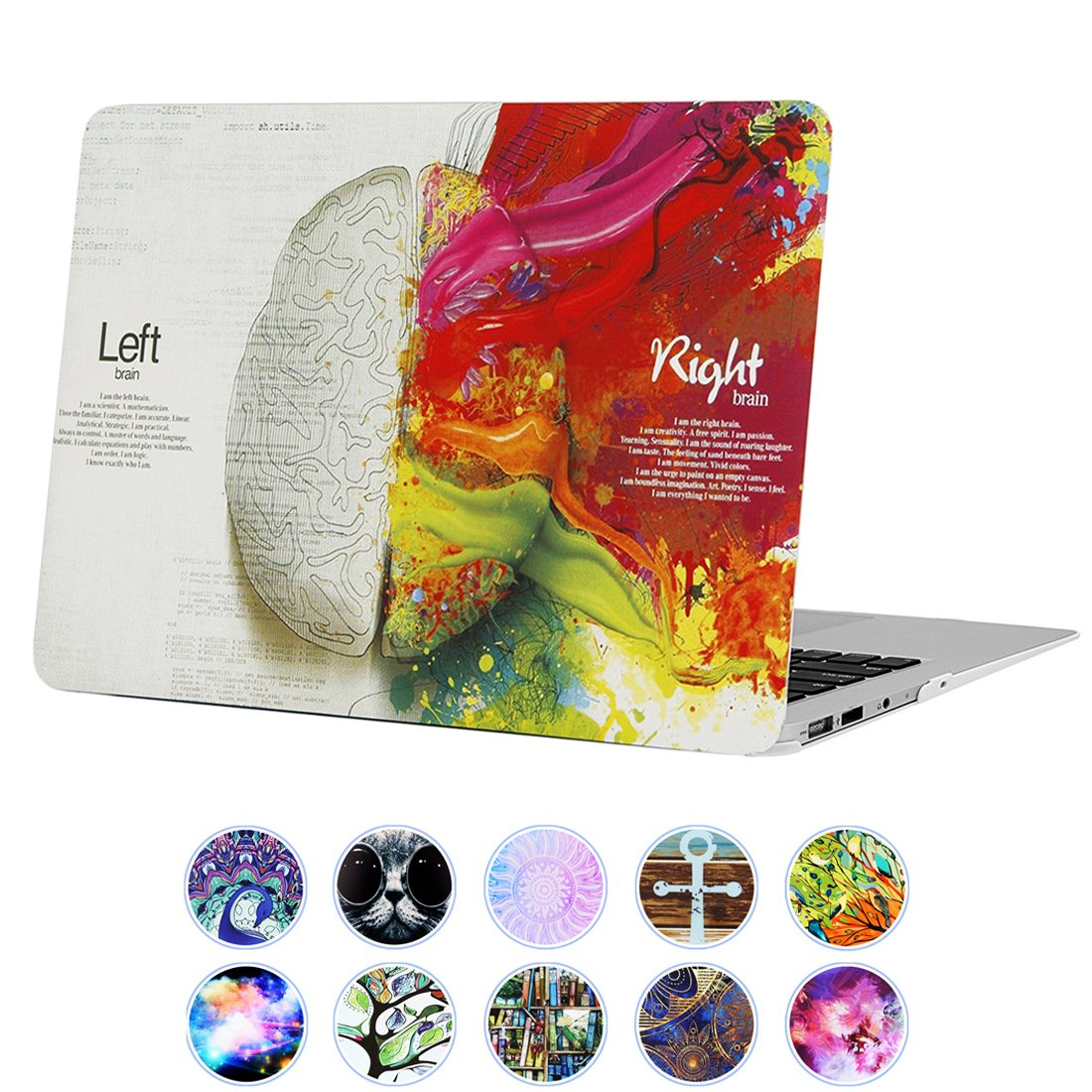 "YMIXPlastic Cover Snap on Hard Protective Case for MacBook Air 13""(A1466 & A1369) , #Left and Right Brain"