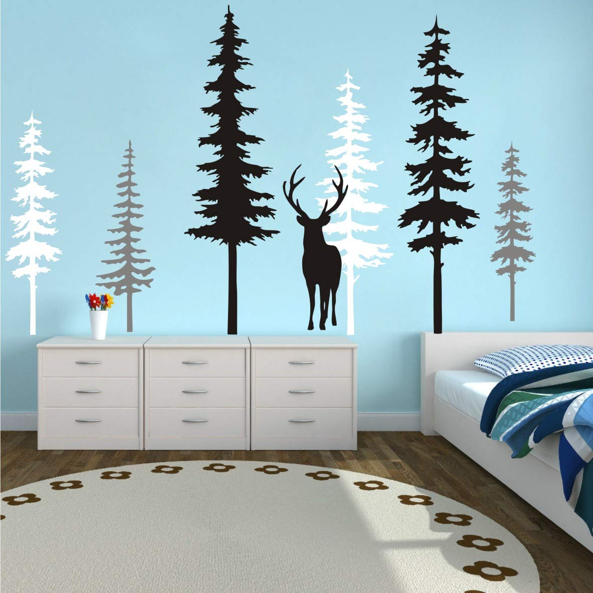 Nursery Animals Woodland Forest Bears Printed Wall Decal Set Kids Bedroom Decor Decals Stickers Vinyl Art Home Decor
