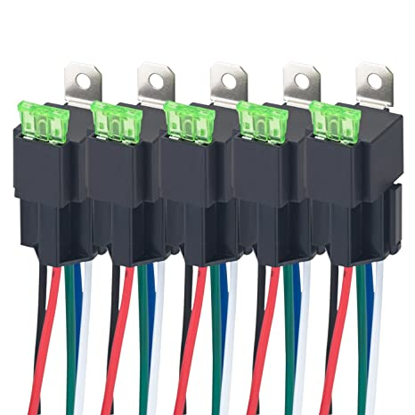 VLUXPARTS 5 Pack 40/30 Amp Relay Switch Harness Set 12V DC 5-Pin SPDT on