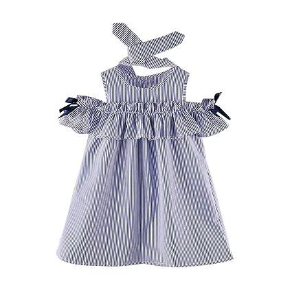 0b52d8ff6f747 (プタス)Putars ベイビー服 子供服 女の子 ワンピース ドレス 縞模様 蝶結び ヘアリボン付き