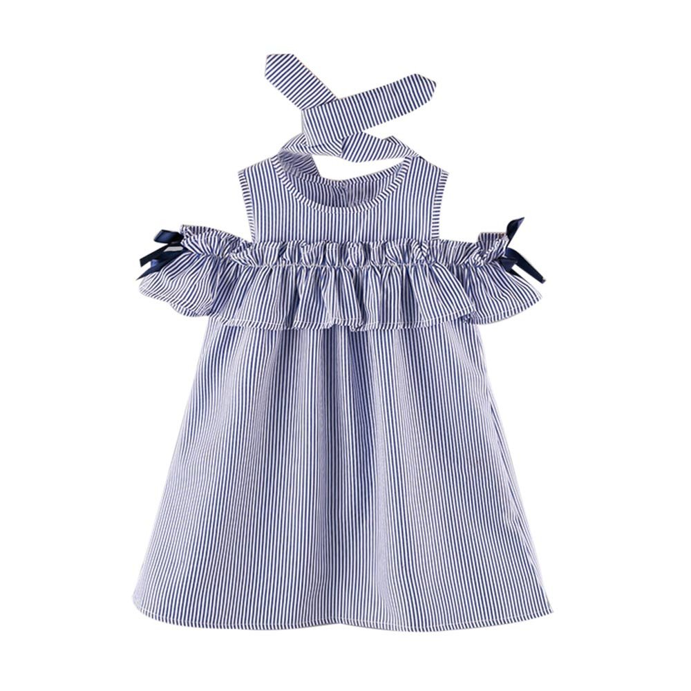 Dsood Girls Outfits Size 8,2PCS Toddler Kids Baby Girl Outfit Clothes Strapless Stripe Dress+Headband Set,Baby Girls' One-Piece Rompers, 2019, Blue