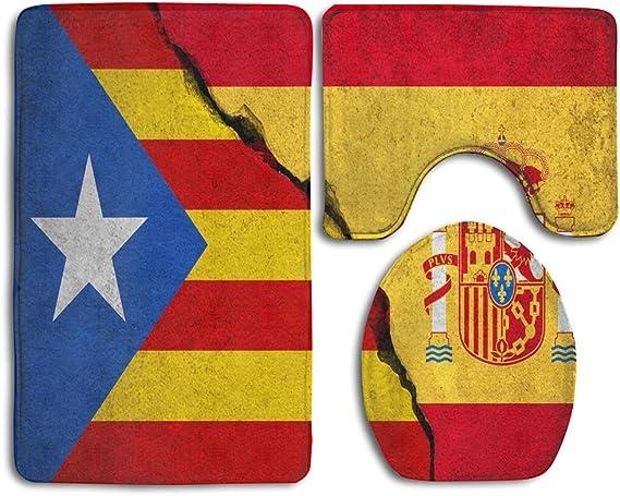LALALALA - Juego de 3 Alfombrillas Antideslizantes para baño con diseño de Bandera de España catalana y ladrillo Roto: Amazon.es: Hogar