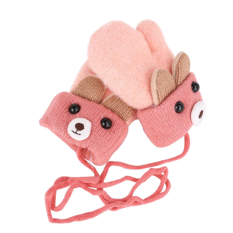 Kids Toddlers Hang Neck Gloves Cute Cartoon Bear Knit Newborn Wrist Pink Unisex Baby Warm Mittens Thicken