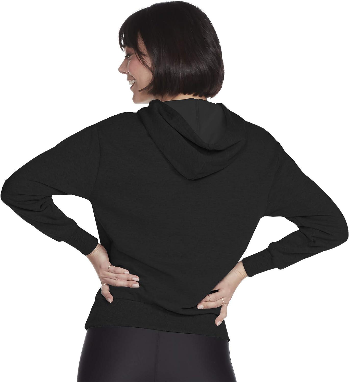 Skechers Pull à Capuche avec Logo Diamant pour Femme Logo Noir/Rose.