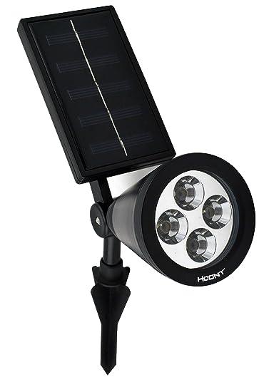 Hoont Solar Powered Outdoor LED Spotlight, Black