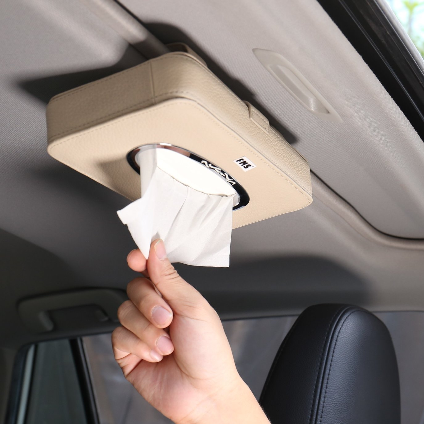 FMS Genuine Leather Car Tissue Case Holder Putting on Car Dashboard & Armrest Car Decoration A Pack Tissue Refill (Black)
