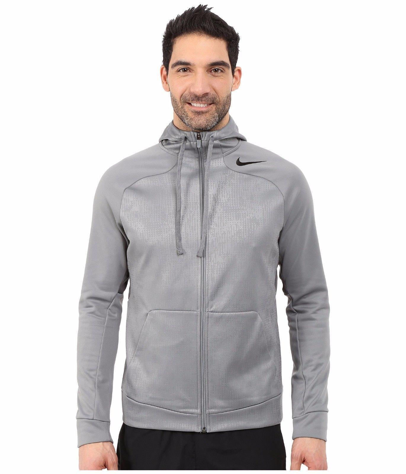 NIKE Men's Hyper Speed Fleece Full-Zip ThermaFit Training Hoodie 694093-065 (Size: Medium) Grey by NIKE