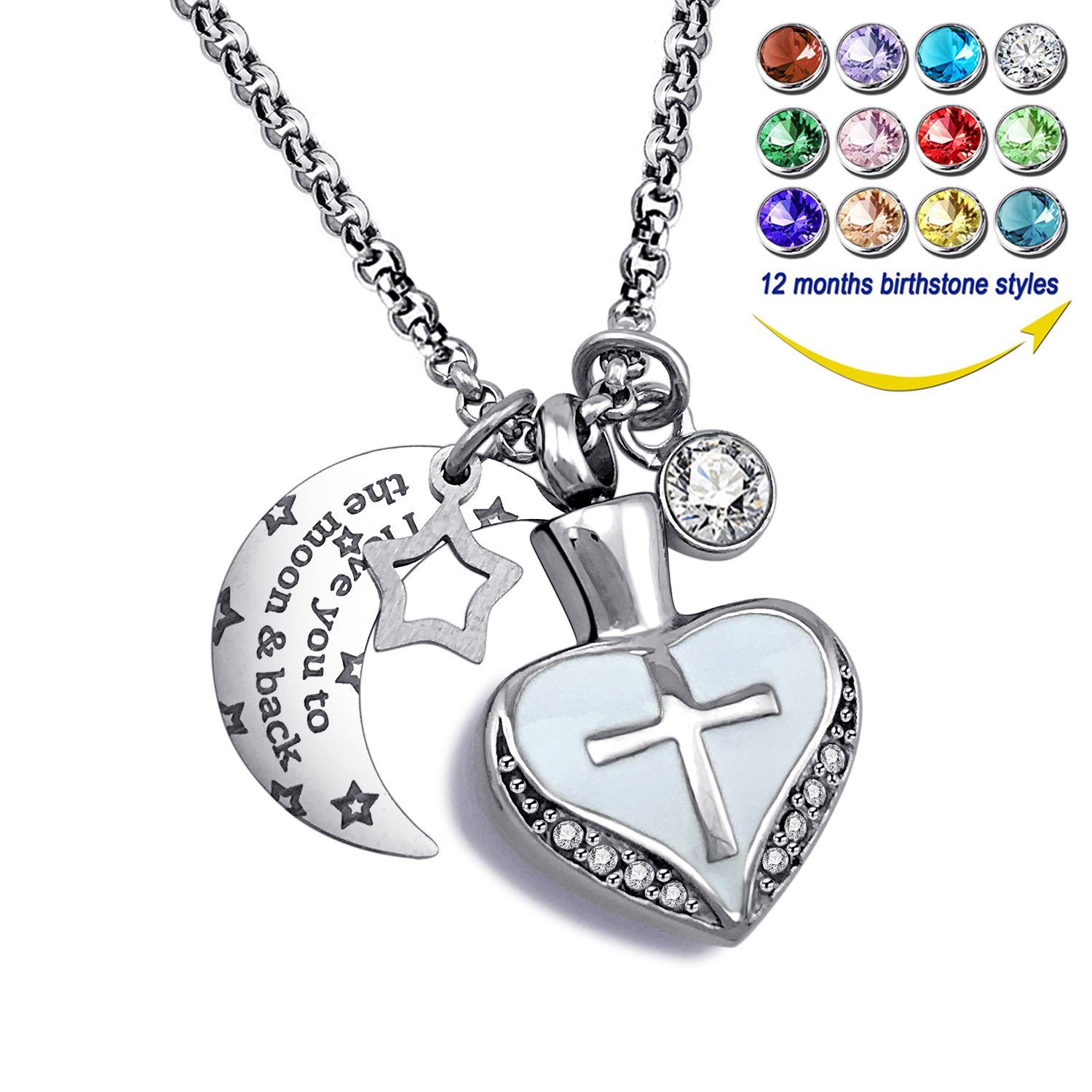 YOUFENG Urn Necklaces for Ashes I Love You to the Moon and Back Cross Necklace Birthstone CZ Keepsake Pendant (April birthstone urn)