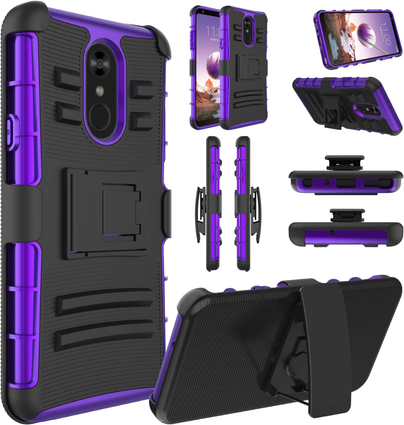 LG Stylo 4 Case, LG Stylo 4 Phone Case, LG Stylo 4 Plus, LG Q Stylus, Elegant Choise Hybrid Holster Heavy Duty Shockproof Full Body Protective Case with Kickstand and Belt Clip for LG Stylo 4 (Purple)