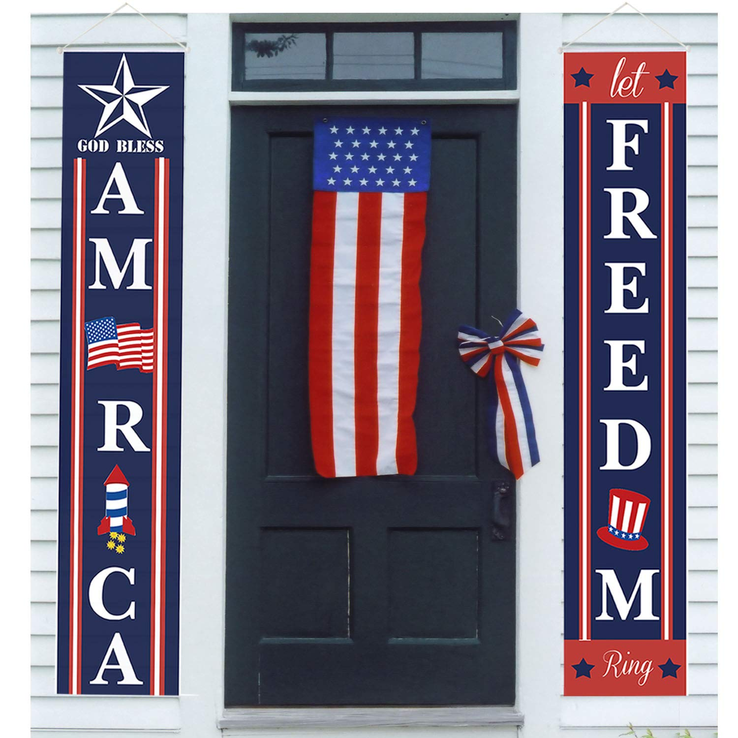 "4th of July Porch Sign Patriotic Door Decoration - ""Let Freedom Ring"" and ""GOD Bless America"", Fourth of July Memorial Day Independence Day Flag Day Labor Day Hanging Banner for Yard Indoor Outdoor"