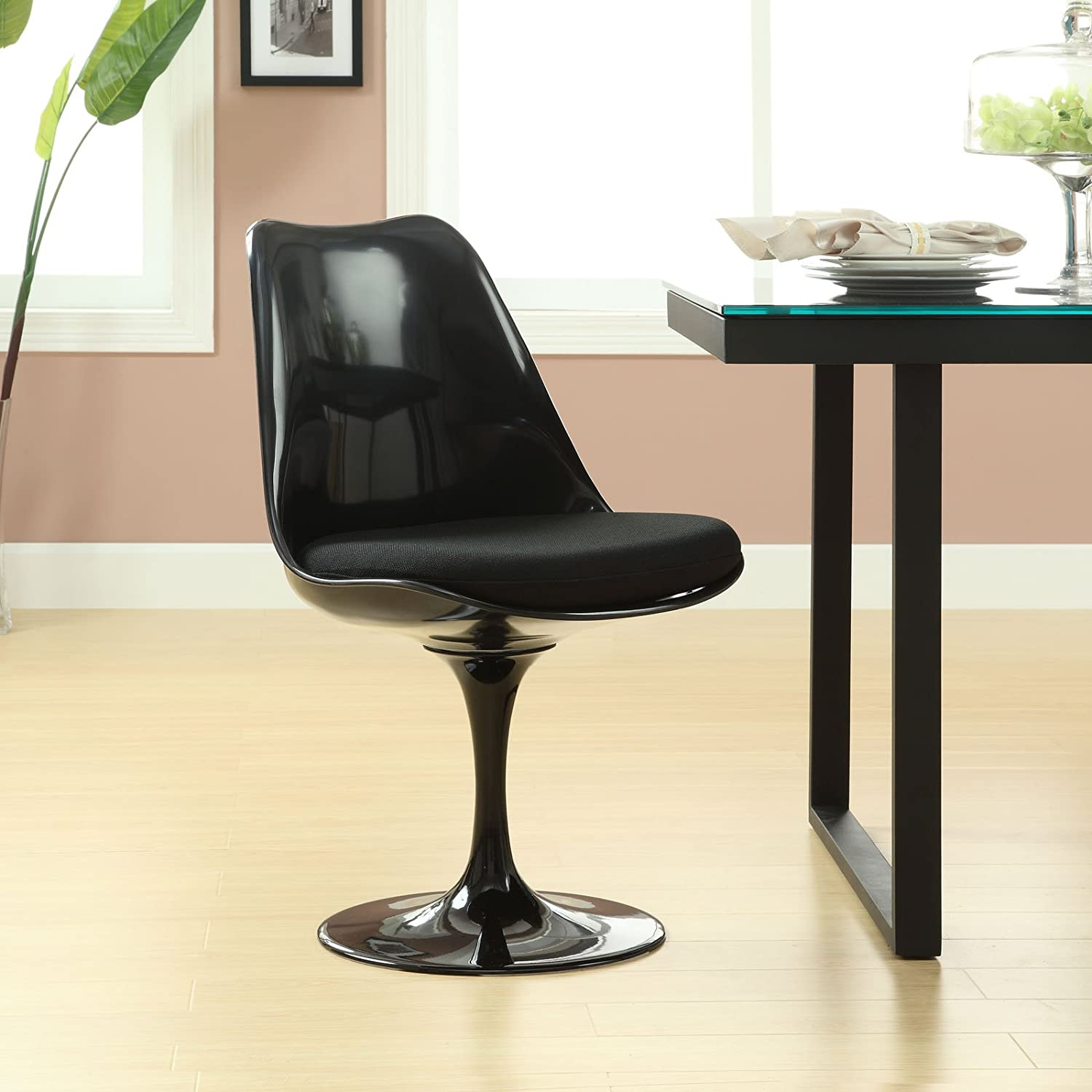 Amazon.com: Modway Black Eero Saarinen Style Tulip Side Chair With Black  Cushion: Kitchen U0026 Dining