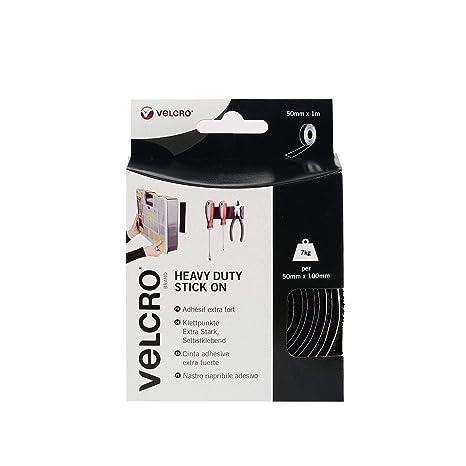 VELCRO VEL-EC60241, Cinta adhesiva extra fuerte, 50mm x 1m, Negro