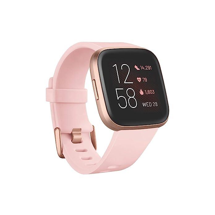 Fitbit Versa 2 Smartwatch - Copper Rose Aluminum with Petal Band