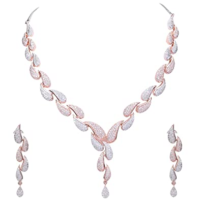 Buy Ratnavali Jewels American Diamond Cz Rose Gold Plated Designer Jewellery Set Necklace Set With Chain Earring For Girls Women Rv3382rg At Amazon In