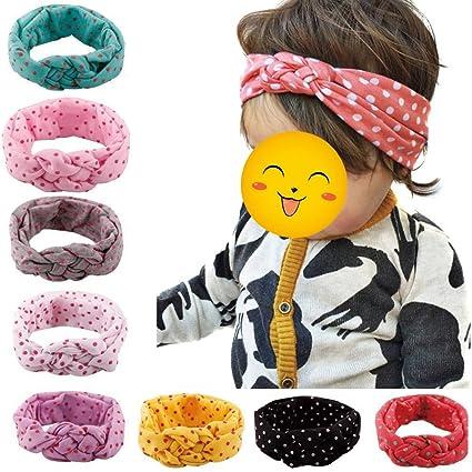 Hosaire 8 Piezas Bebé Turbante Pelo Niñas Recién Nacido Diadema Arco Accesorios Banda Bonita,Color aleatorio