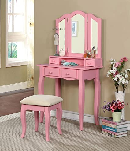 Amazon Com Fa Furnishing Margery Girls Bedroom 3 Piece Set Vanity Table Tri Mirror Stool In Pink Wood Furniture Decor
