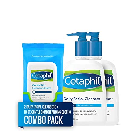 Cetaphil Daily Facial Cleanser for Normal to Oily Skin, Two 16-oz. Bottles, plus 10-ct. Cetaphil Gentle Skin Cleansing Cloths for Dry, Sensitive Skin Combo Pack