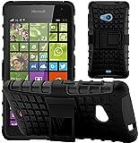 GizzmoHeaven Microsoft Lumia 535 Hülle Stoßfest Handy Schutzhülle Stoßgedämpfter Extraharte Tasche Silikon Gel Hybrid Armor Cover Case Etui mit Ständer für Microsoft Lumia 535 - Schwarz