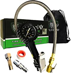 """Rhino USA Heavy Duty Tire Pressure Gauge (0-100 PSI) - Certified ANSI B40.1 Accurate, Large 2"""" Easy Read Glow Dial, Premium Braided Hose, Solid Brass Hardware, Best For Any Car, Truck, Motorcycle, RV"""