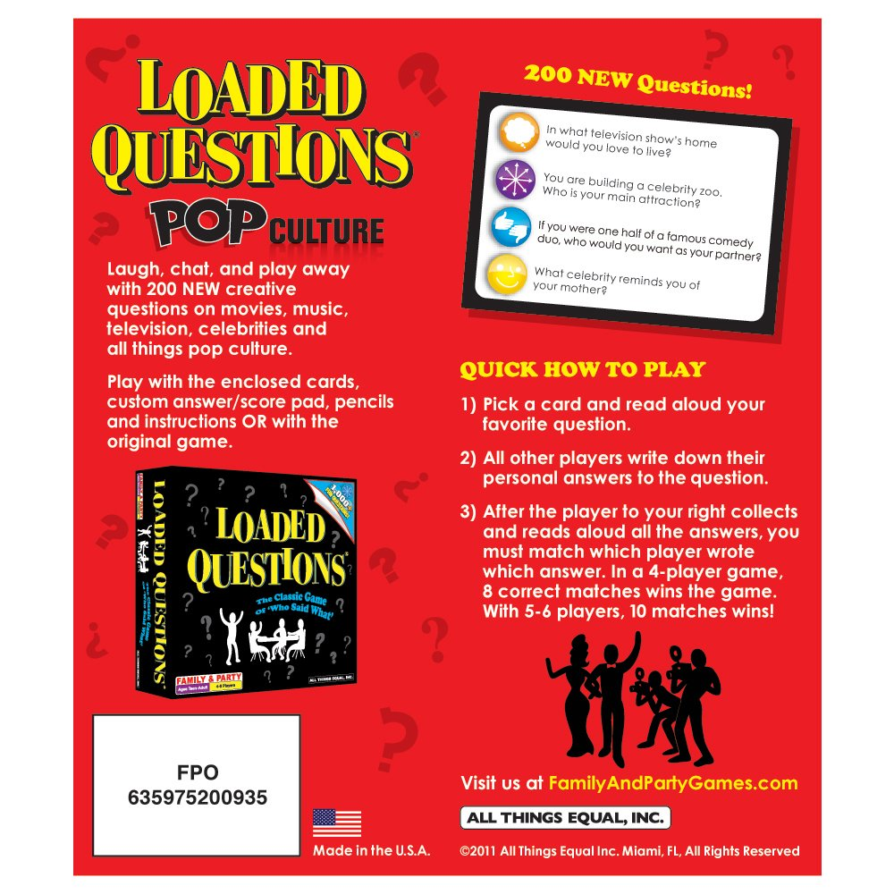 Amazon All Things Equal Inc Loaded Questions Pop Culture