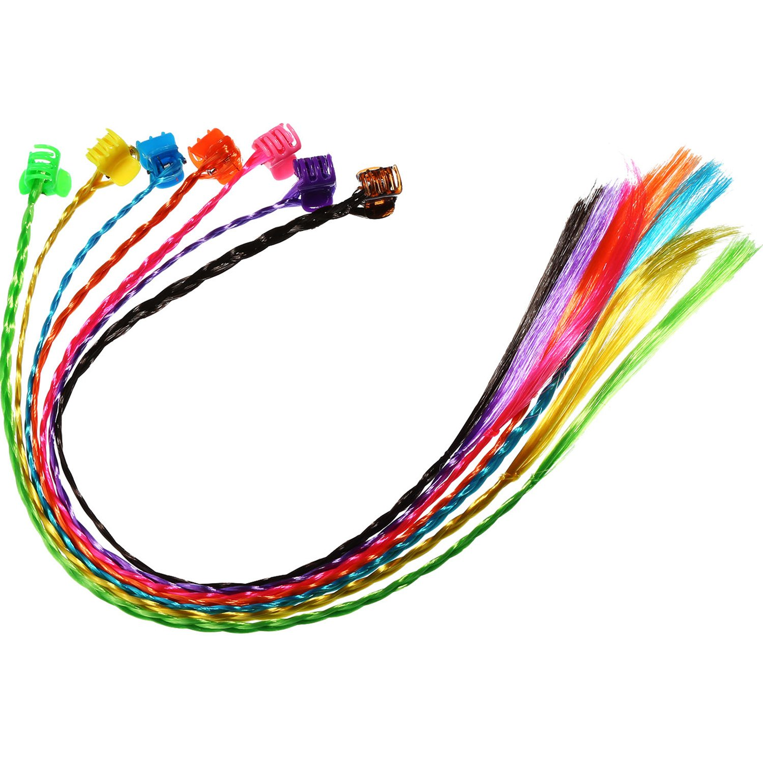 Bememo 21 Pieces Nylon Braided Hair Neon Hair Braid Extensions Attachments with Neon Clip Snaps for Birthday Party Favors and Children Performance 7 Colors