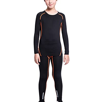 EU Boys Sports Long Sleeve Compression Shirts Pants Set Quick Dry Base Layer