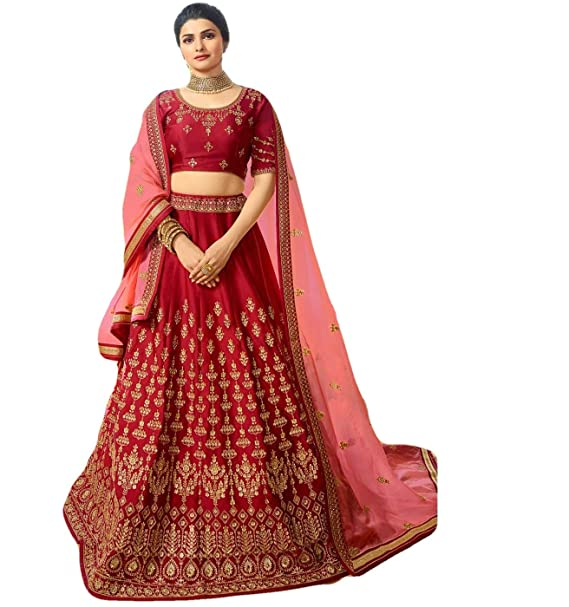4f1da2649c Nishas Closet Red Sparkle Silk semi stitched Lehenga Set: Amazon.in:  Clothing & Accessories