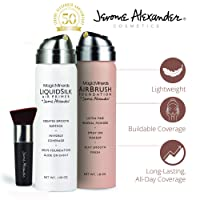 MagicMinerals AirBrush Foundation Set by Jerome Alexander (FAIR) – 3pc Set Includes Primer, Foundation and Kabuki Brush - Spray Makeup with Anti-aging Ingredients for Smooth Radiant Skin
