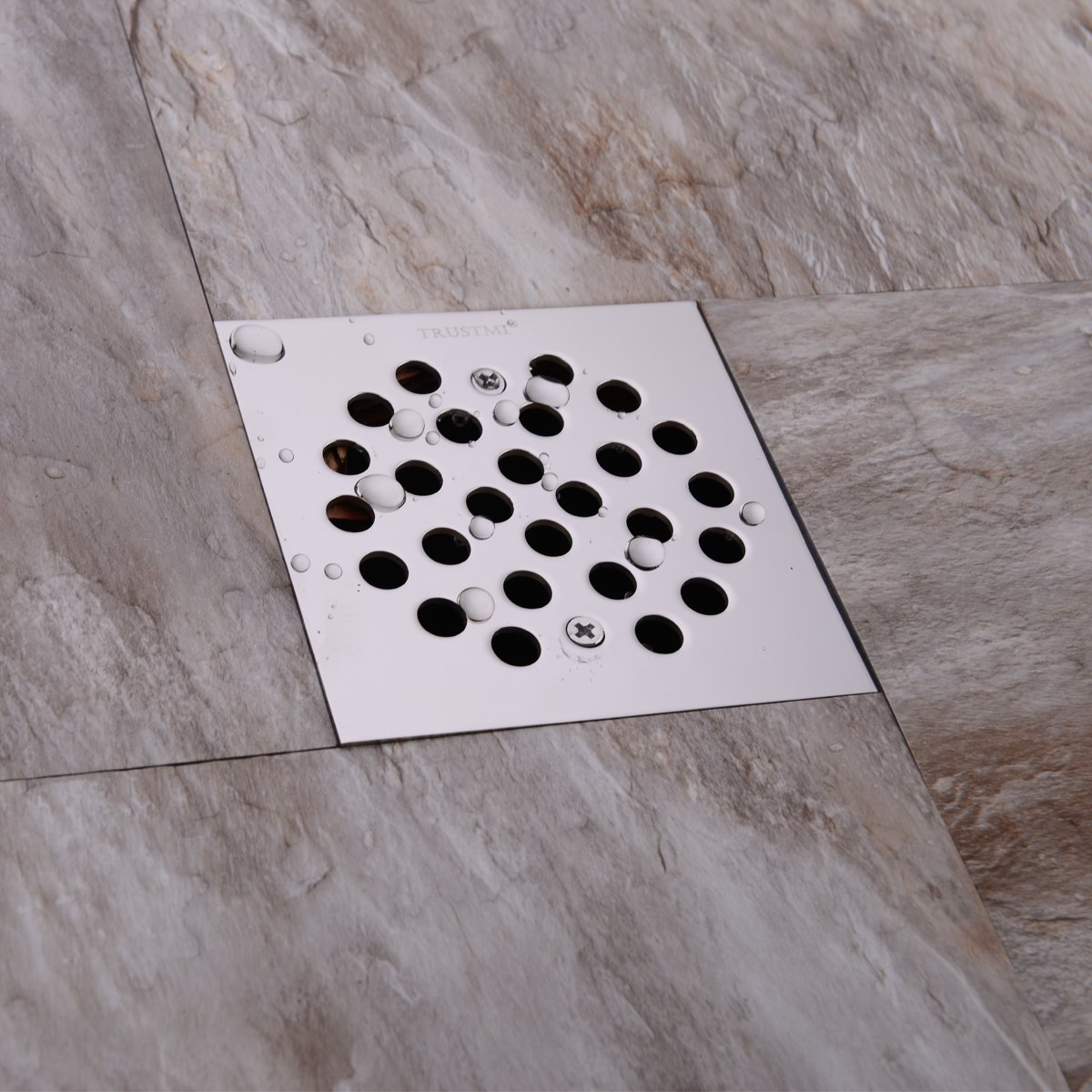 TRUSTMI Square 4-1//4-inch Screw-in Shower Floor Drain Grate Strainer,Brushed Nickel,also Chrome and Oil Rubbed Bronze for Choose