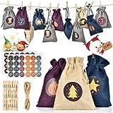 MS.DEAR Calendario Adviento Navidad, Set de 24 Bolsas de Calendario de Cuenta Regresiva de Navidad, DIY Bolsa para…