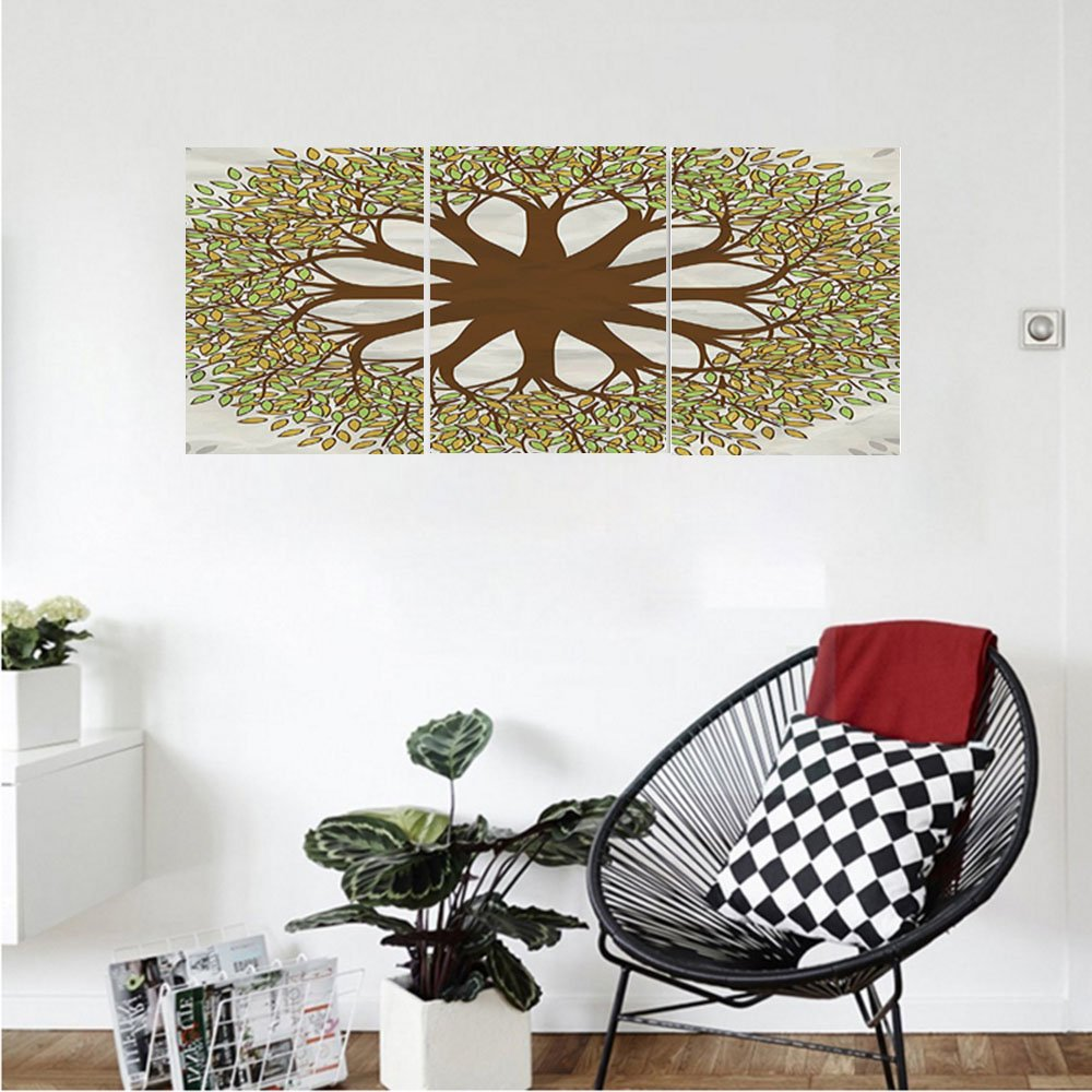 Liguo88 Custom canvas Tree of Life Decor Collection Indian Mandala Design with Leaves and Woods Round Shape Eastern Cultural Artwork Bedroom Living Room Wall Hanging Green Brown