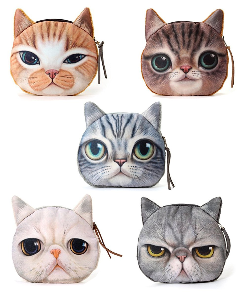 Ai-life Lifelike Cat Face Zipper Bag Coin Case Money Plush Purse Wallet Bag Pouch Handbag