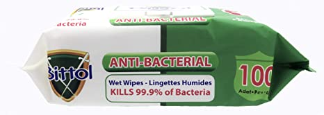 Bittol 100 Count Pack of 1 Anti-Bacterial Wet Wipes
